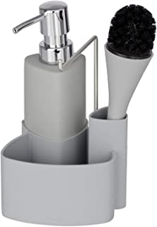 Wenko Spül-Set Empire - Spülmittelspender, Spülbürste, Handtuchhalter, Fassungsvermögen: 0,25 l, Soft-Touch Keramik, 11 x 19 x 12,5 cm, grau