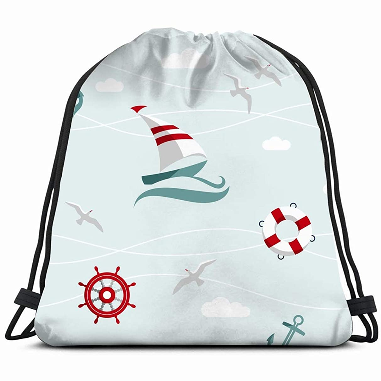 sea nautical elements flat ocean sports recreation Drawstring Backpack Gym Sack Lightweight Bag Water Resistant Gym Backpack for Women&Men for Sports,Travelling,Hiking,Camping,Shopping Yoga
