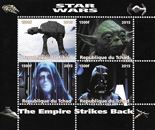 Star Wars Briefmarken für Sammler Das Imperium schlägt zurück mit Yoda und dem Kaiser / MNH / 2015 / Chad