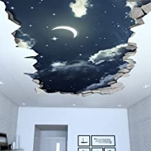 Moonwallstickers 3D Wallpaper Effect (34,25 x 18,90 inches, Night Sky 3D Effect Ceiling Decal)