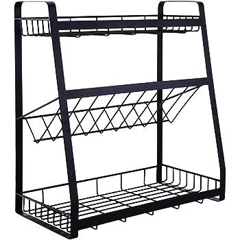 調味料ラック スパイスラック 大容量 キッチンストレージ 調味料 スタンド 斜めラック スパイス収納 おしゃれキッチンラック バスラック (平底)