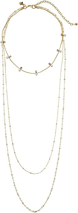 Rebecca Minkoff - Pearl and Stone Multi Layer Chain Necklace