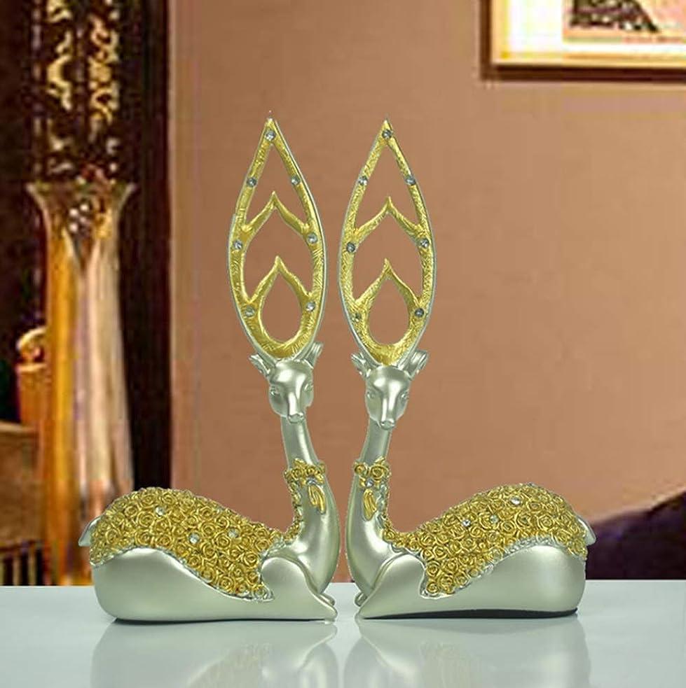 神経衰弱年金受給者裕福なYIJUPIN ゴールデンディアーデコレーション/ヨーロッパの家のリビングルームの装飾/樹脂の鹿の工芸品 (色 : ゴールド)