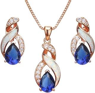 Hermosa Jewelry Sets Australian Opal Blue Sapphire Necklace Earrings
