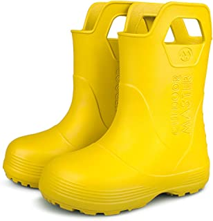 OutdoorMaster Kids Toddler Rain Boots with Easy Pull-On Handles for Boy Girl
