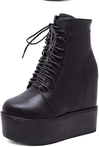 HBDLH Chaussures pour Femmes en Hiver Super Talon Haut avec Talon Haut 12Cm Pente Bottes Muffin épaisse Chaussure Bas Haut.