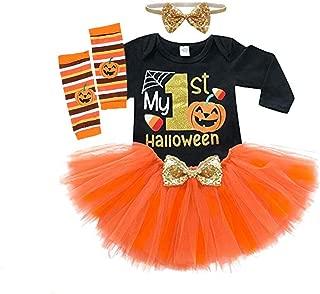 Baby Girls Halloween Outfits Costume My 1st Halloween Romper+ Tutu Skirt+ Striated Leg Warmer+ Bunny Headband 4Pcs Outfit Set