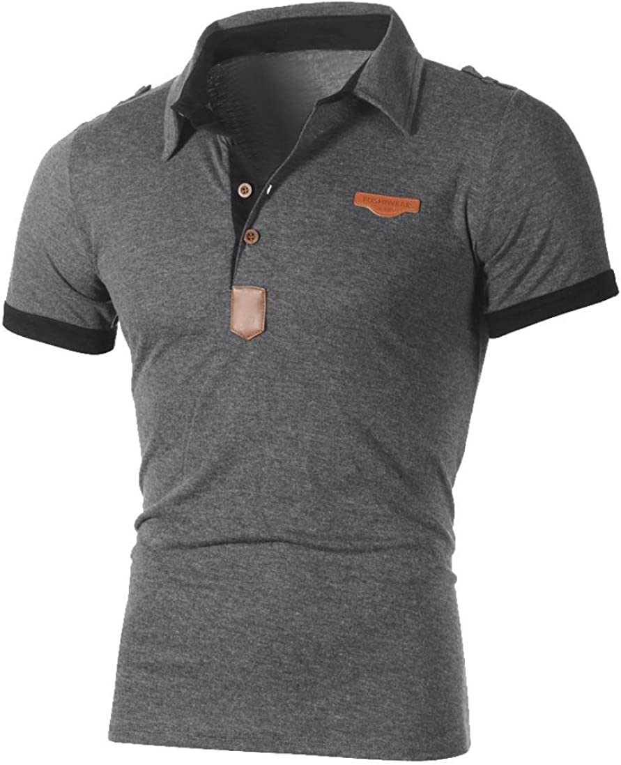 Easytoy Men's Casual Stand Collar Polo Shirt Short Sleeve Henley Jersy Shirt