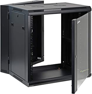 Aeons 12U Signature Double Section Wall Mount 19-inch Networking IT Cabinet Enclosure Hinged Swing Out 22-inch Depth Glass...