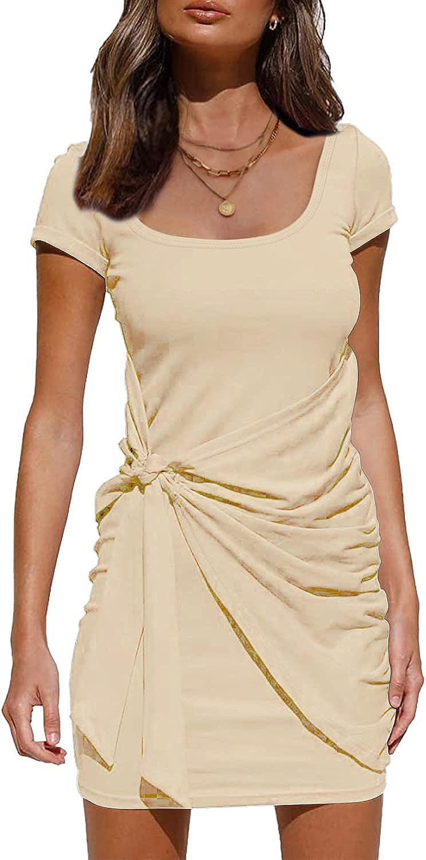 Davenil Women's Casual Summer Dress Scoop Neck Short Sleeve Bodycon Ruched Tie Waist Mini Dresses