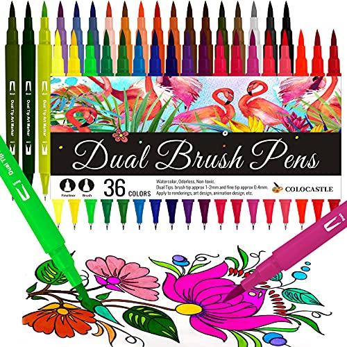 Brush Pen Lettering 36 Colori Doppia Pennarelli Punta Fine 0,4mm e 1-2mm Punta Brush Penne da Colorare ad Acquerello per Adulti Libri da Colorare Bullet Journal Lettering Calligrafia Disegnare Mandala
