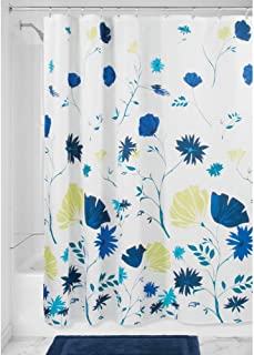 "InterDesign Aster Floral Fabric Shower Curtain - 72"" X 72"", Blue/Light Lime"