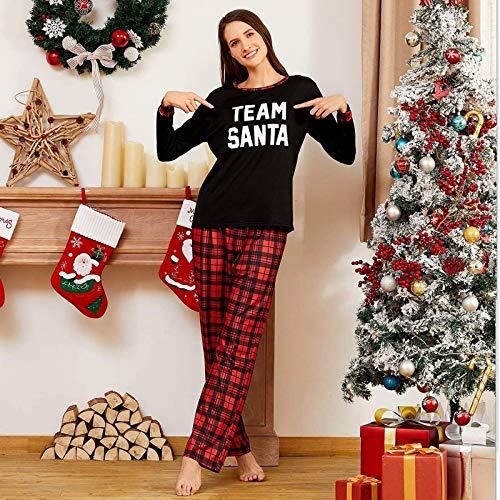 Coincidencia De Navidad De La Familia Pijamas Set Con Letras Impresión De La Camisa De Tela Escocesa Roja Pantalones Homewear Ropa De Noche De Traje De Papá De Los Tapas + Mantas Pantalones,M (female)