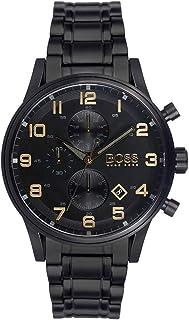 ساعة ستانلس ستيل دائرية انالوج بعقارب كرونوجراف ومينا اسود بمؤشرات مختلفة اللون للرجال من هوجو بوس - اسود