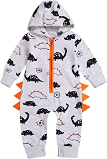YOUNGER TREE Toddler Baby Boys Fall Outfits Dinosaur Hoodie Sawtooth Long Sleeve Rompers Bodysuit Clothes