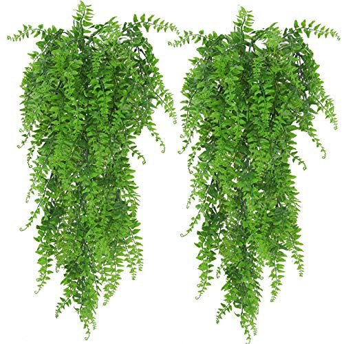 Huryfox 2 Pack Artificial Hanging Plants Fake Ivy Leaves Wall Decoration for Indoor Outdoor, Greenery Home Decor Faux Vine for Living Room & Garden/Bedroom/Farmhouse