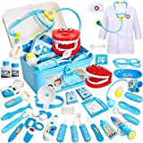 Buyger 35 Pcs Doctors Set for Kids Dress Up Costumes for Children Pretend Role Play Medical Carry Case with...