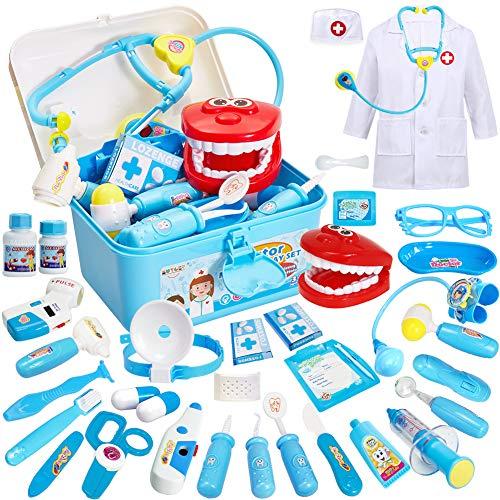 Buyger 35 Teile Rollenspiel Spielzeug Arztkoffer Medizinisches Doktor Arztkittel Geschenke für Kinder Mädchen Junge ab 3 Jahre(Blau)