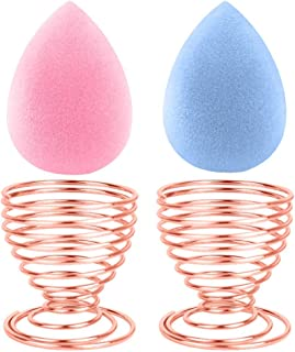 BEAKEY Makeup Sponge Set Mini Beauty Sponge Blender, Latex-Free Foundation Blending Applicator Tools Pink&Blue