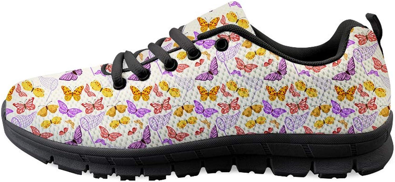 Owaheson Lace-up Sneaker Training shoes Mens Womens Net Pocket colorful Butterflies Capture