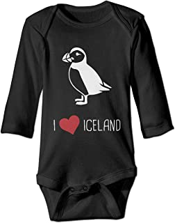 Newborn Infant Baby's I Love Iceland Puffin Long Sleeves Romper Jumpsuit Pajamas Outfit