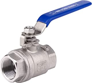 DERNORD Full Port Ball Valve Stainless Steel 316 Two Piece with Blue Vinyl Handle,Heavy Duty,WOG 1000 (3/4'')