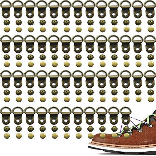 Pack de 50 ganchos de encaje para botas de metal con ojales de encaje para zapatos, anillos de metal con remaches, reparación de campamento o caminata, botas de trabajo de seguridad al aire libre
