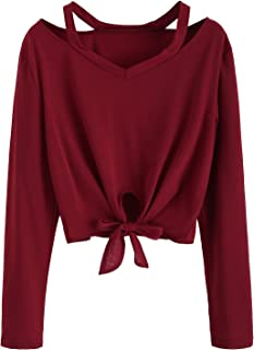 SweatyRocks Women`s Crop T-Shirt Tie Front Long Sleeve Cut Out Casual Blouse Top