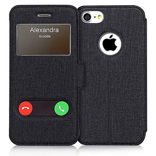 FYY Handyhülle für Apple iPhone SE Hülle 2020,iPhone 7 Ledertasche mit Fenster-Ansicht Magnetisch und Standfunktion Schutzhülle Tasche, für iPhone 7 Klapphülle,iPhone 7/8 Case Cover-Leinwand Schwarz