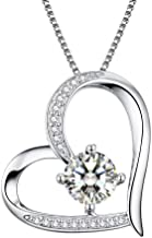 Heart Necklaces 5A Cubic Zirconia Love Necklace 14k White Gold Plated Pendant Necklaces for Women