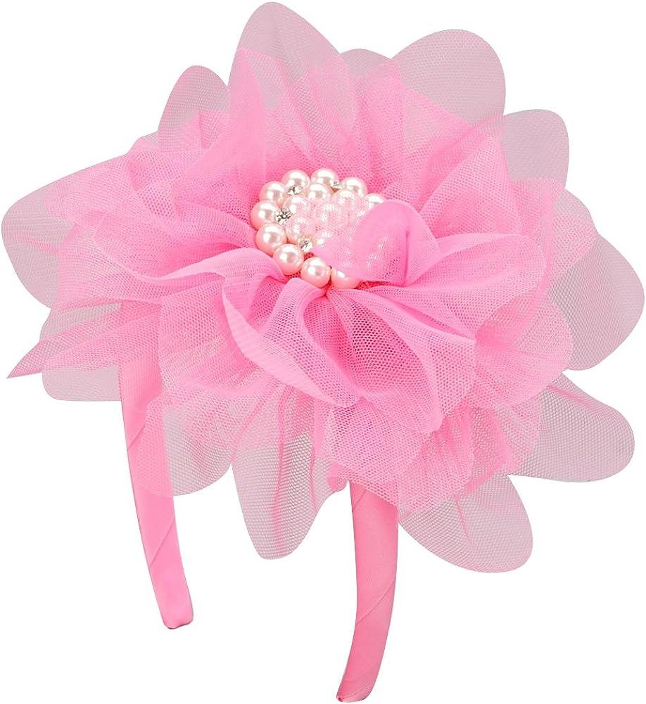 Making Believe Pearl Rhinestone Flower Headband (Choose Color) (Hot Pink, One Size)