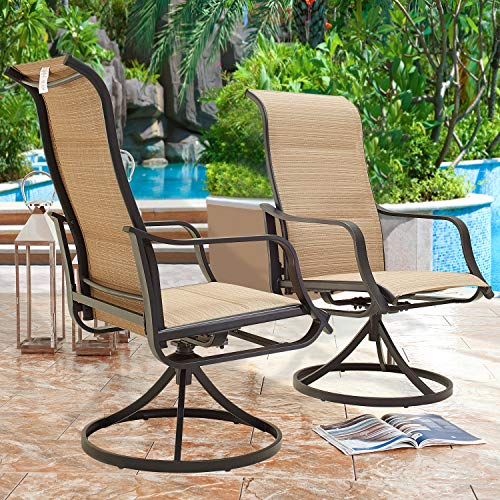 Top Space Patio Dining Chairs Textilene High Back Outdoor Swivel Rocker Set with All Weather Frame (Beige,Set of 2)