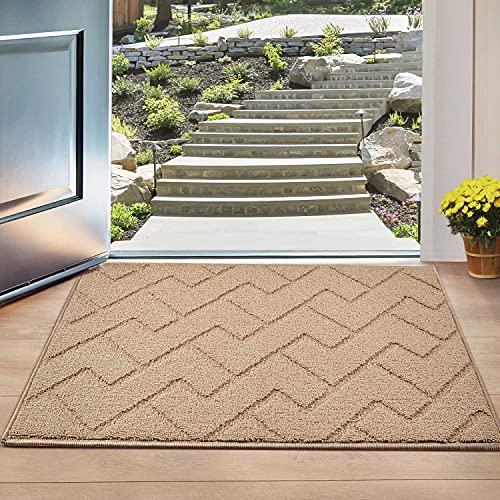 """Indoor Doormat, Front Back Door Mat Rubber Backing Non Slip Door Mats 20""""x31.5"""" Absorbent Resist Dirt Entrance Doormat Inside Floor Mats for Entryway Machine Washable Low-Profile (Brown)"""