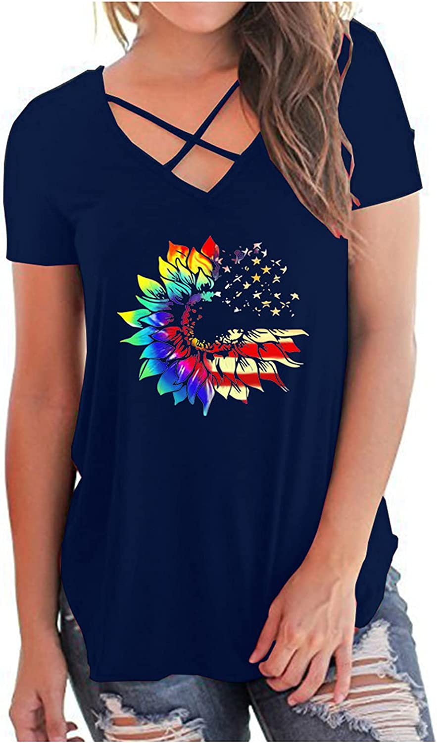 Sayhi Dealing outlet full price reduction Independence Day Flag America Neck V Top Print Sleeveless