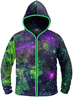 electric styles - Battery-Powered Light Up Hoodie, Unisex Luminescent Zip Jacket for Men and Women