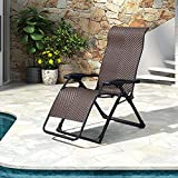 Lounge Chair Patio Folding Wicker Zero Gravity Recliner Chairs Indoor Living Room Lawn Camping Pool Lounger for Beach Sun Bathing Tanning Deck Outside Rattan Reclining Chair, Bronze
