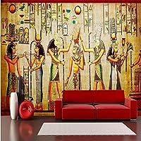 Ljjlm ノスタルジックな古代エジプトのお祝いの古典的なテレビの背景カスタム大フレスコ画壁紙Papel De Parede-120X100Cm
