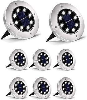 Dersoy Solar Disk Lights Outdoor, 8 LED Bulbs Solar Powered Ground Lights Outdoor Waterproof IP65 for Garden/Landscape Pat...