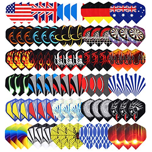 Niubixx Standard Dart Flights 30 Sets 90 Pcs Durable PET and Laser Replacement Feather Tail Wing - Perfect Accessories Equipment Supplies for Dart Games