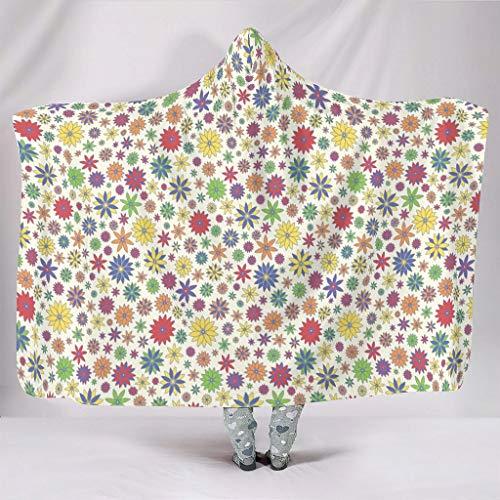 Fineiwillgo Manta con capucha y diseño de margaritas, muy suave, para adolescentes, para dormir, sofá o sillón, 150 x 200 cm, color blanco