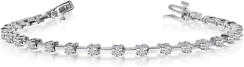 14K White Gold 2 Ct. Diamond Tennis In stock Bar free Petite Bracelet