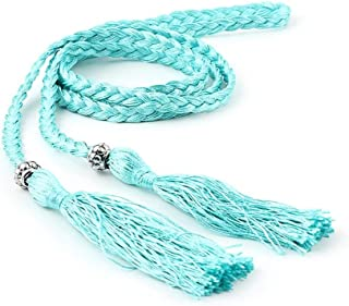 SGJFZD Summer New Fashionable Version of The Waist Rope Hand-Woven Ethnic Wind Thin Rope Dress Knotted Decorative Waist Chain Female (Color : Blue)