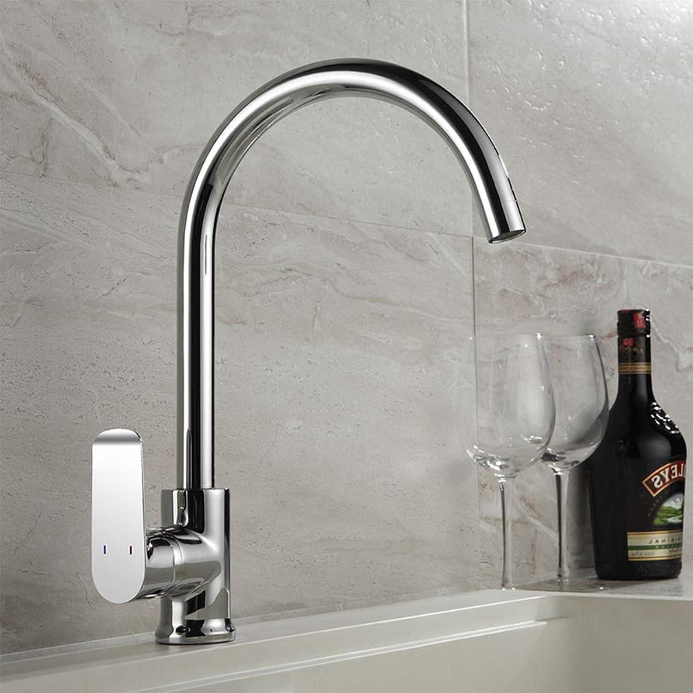 FZHLR Kitchen Sink Faucet Single Hose Kitchen Faucet White Painting Kitchen Mixer Flexible Chrome Kitchen Faucet,Chrome