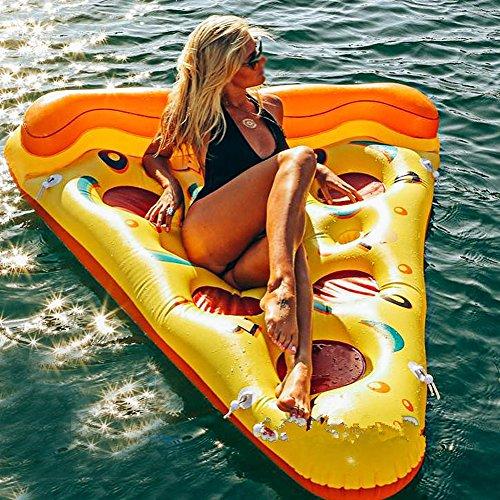 Pool Luftmatratze Pizzastück Wassermatratze für Kinder und Erwachsene Riesen Scheibe Pizza aufblasbares Pool Float, Poolspielzeuge für Kinder Fun Pool floaties, Swim-Party Spielzeug 168 x 138 x 33cm