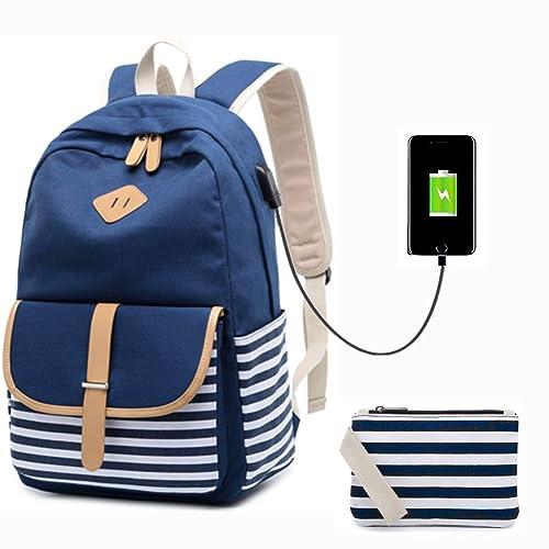 608a6b40205f Lightweight School Backpack Canvas Bookbag Student School Rucksack College  Bag Travel Casual Daypacks for Teen Girls
