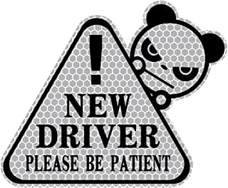 biinfu New Driver Sticker for Car, Funny Vehicle Sign Sticker for Student Driver,Reflective Waterproof-Silver