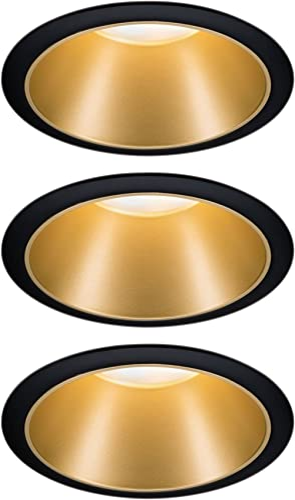 Paulmann 93404 LED Cole rond incl. 3x6,5watts gradable projecteurs Noir, Doré mat Lampe encastrée plastique, Alu zin...