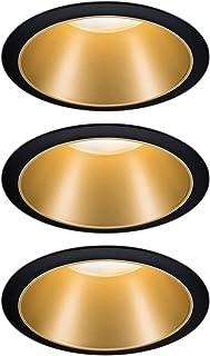 Paulmann 93404 Oprawa wpuszczana LED Cole okrągła, w tym ściemnialny reflektor wpuszczany 3x6,5W Czarny, złoty matowy Lamp...