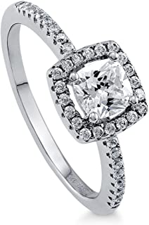 BERRICLE Rhodium Plated Sterling Silver Cushion Cut Cubic Zirconia CZ Halo Promise Engagement Ring 0.78 CTW