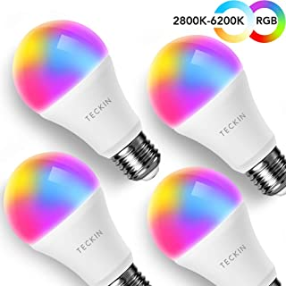 Smart WiFi Light Bulb with Soft White Light, TECKIN 16 Million RGB Color Changing LED Bulb That Work with Alexa, Google Home and IFTTT (No Hub Required), 7.5W (60w Equivalent),4 Pack